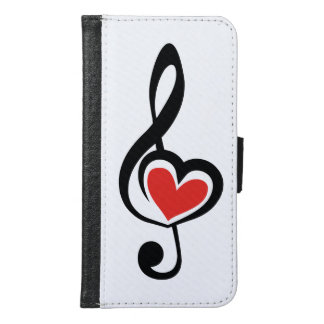 Illustration Clef Love Music Wallet Phone Case For Samsung Galaxy S6