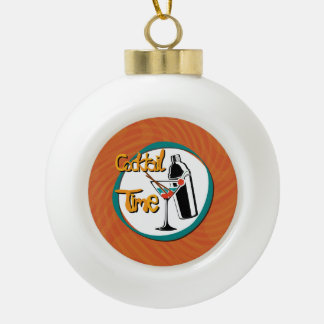 Illustration Cocktail with Cocktailshaker Ceramic Ball Christmas Ornament