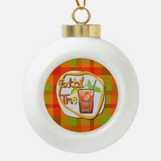 """Illustration Cocktail with fruit """"Cocktail Time"""" Ceramic Ball Christmas Ornament"""