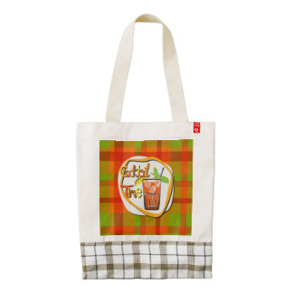 """Illustration Cocktail with fruit """"Cocktail Time"""" Zazzle HEART Tote Bag"""