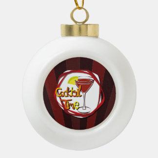 "Illustration Cocktail with lemon ""Cocktail Time"" Ceramic Ball Christmas Ornament"