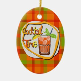 "Illustration Cocktail with lemon ""Cocktail Time"" Ceramic Ornament"