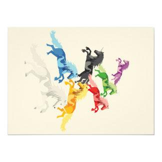 Illustration colorful wild Unicorns Card