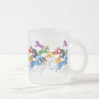 Illustration colorful wild Unicorns Frosted Glass Coffee Mug