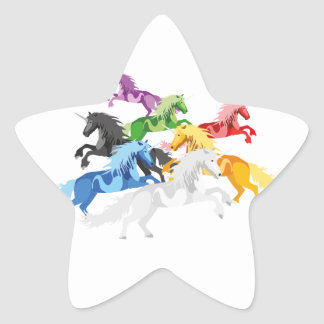 Illustration colorful wild Unicorns Star Sticker
