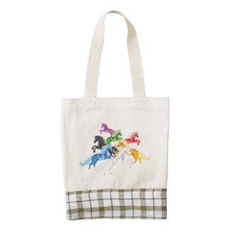 Illustration colorful wild Unicorns Zazzle HEART Tote Bag