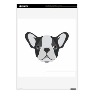 Illustration cute French Bulldog Decals For PS3 Slim