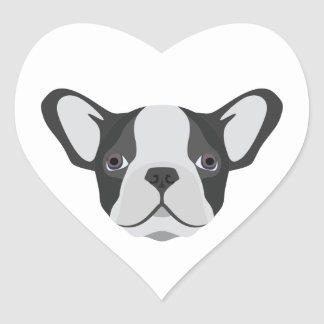 Illustration cute French Bulldog Heart Sticker