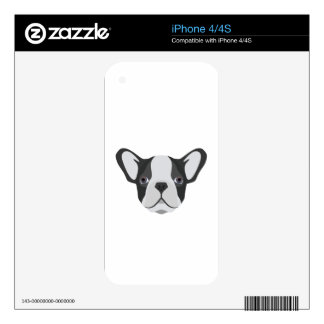 Illustration cute French Bulldog Skins For The iPhone 4