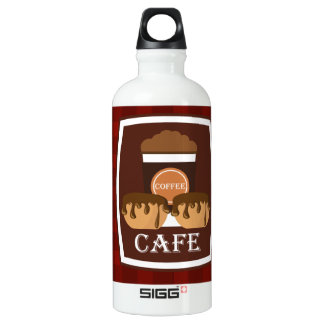 Illustration delicious cup of coffee aluminum water bottle