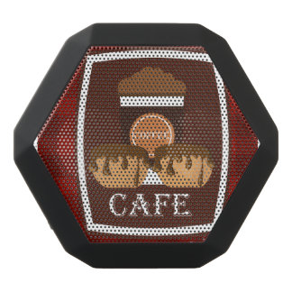 Illustration delicious cup of coffee black bluetooth speaker