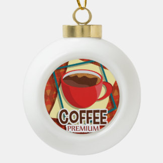 Illustration delicious cup of coffee ceramic ball christmas ornament