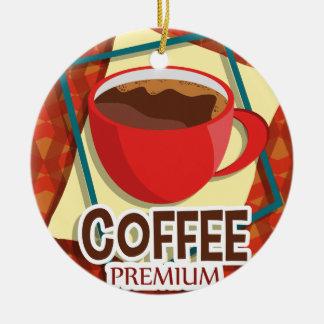 Illustration delicious cup of coffee ceramic ornament