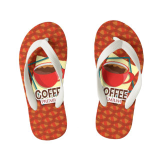 Illustration delicious cup of coffee kid's flip flops