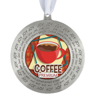 Illustration delicious cup of coffee pewter ornament