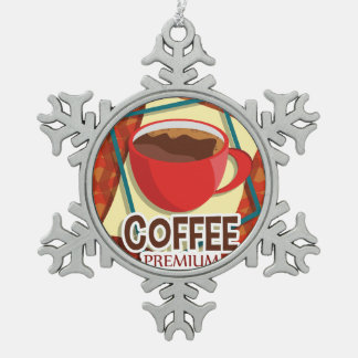 Illustration delicious cup of coffee snowflake pewter christmas ornament
