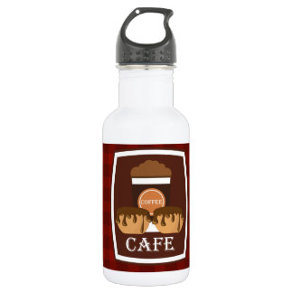 Illustration delicious cup of coffee stainless steel water bottle