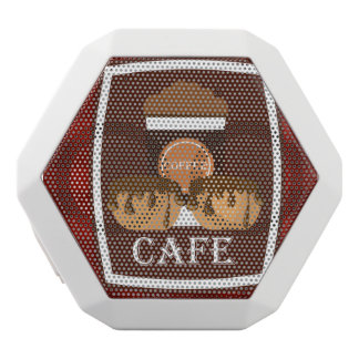 Illustration delicious cup of coffee white bluetooth speaker