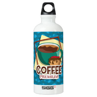 Illustration delicious cup of coffee with a muffin aluminum water bottle