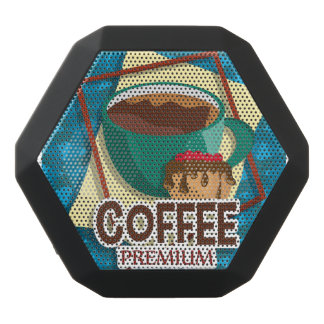 Illustration delicious cup of coffee with a muffin black bluetooth speaker