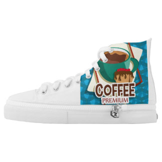 Illustration delicious cup of coffee with a muffin High-Top sneakers