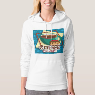 Illustration delicious cup of coffee with a muffin hoodie