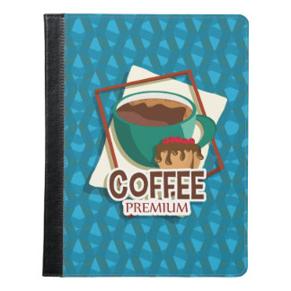 Illustration delicious cup of coffee with a muffin iPad case