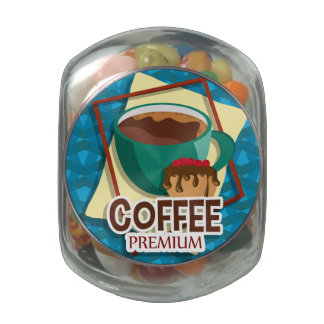 Illustration delicious cup of coffee with a muffin jelly belly candy jar