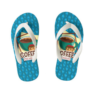 Illustration delicious cup of coffee with a muffin kid's flip flops