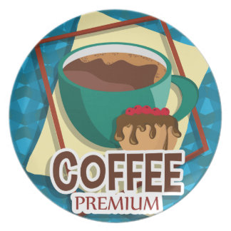 Illustration delicious cup of coffee with a muffin melamine plate