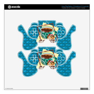 Illustration delicious cup of coffee with a muffin PS3 controller skin