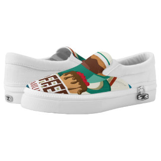 Illustration delicious cup of coffee with a muffin Slip-On sneakers