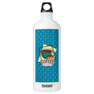 Illustration delicious cup of coffee with a muffin water bottle