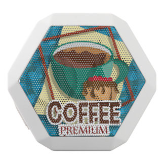 Illustration delicious cup of coffee with a muffin white bluetooth speaker