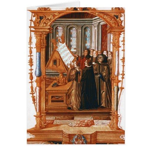 Illustration  depicting  choir singing the card