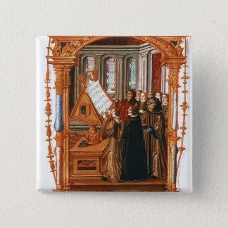 Illustration  depicting  choir singing the pinback button
