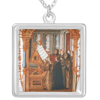Illustration  depicting  choir singing the silver plated necklace