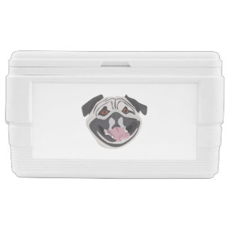 Illustration dog smiling happy pug chest cooler
