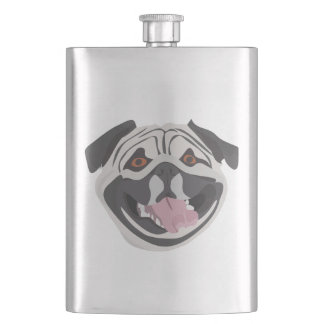 Illustration dog smiling happy pug flask