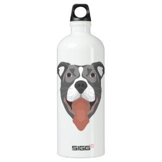 Illustration Dog Smiling Pitbull Aluminum Water Bottle