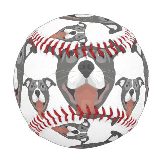 Illustration Dog Smiling Pitbull Baseball