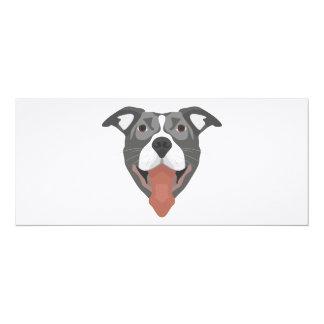 Illustration Dog Smiling Pitbull Card