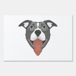 Illustration Dog Smiling Pitbull Lawn Sign
