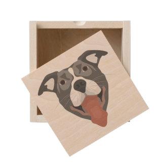 Illustration Dog Smiling Pitbull Wooden Keepsake Box