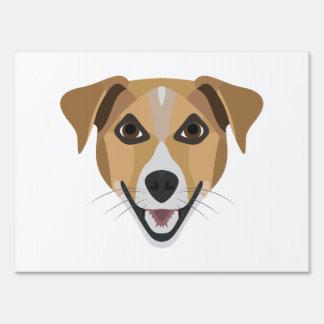 Illustration Dog Smiling Terrier Lawn Sign