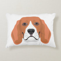 Illustration dogs face Beagle Decorative Pillow
