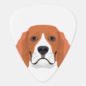 Illustration Dogs Face Beagle Guitar Pick by GreenOptix at Zazzle