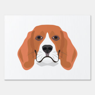 Illustration dogs face Beagle Lawn Sign