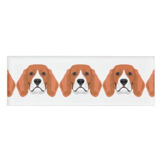 Illustration dogs face Beagle Name Tag