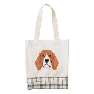 Illustration dogs face Beagle Zazzle HEART Tote Bag